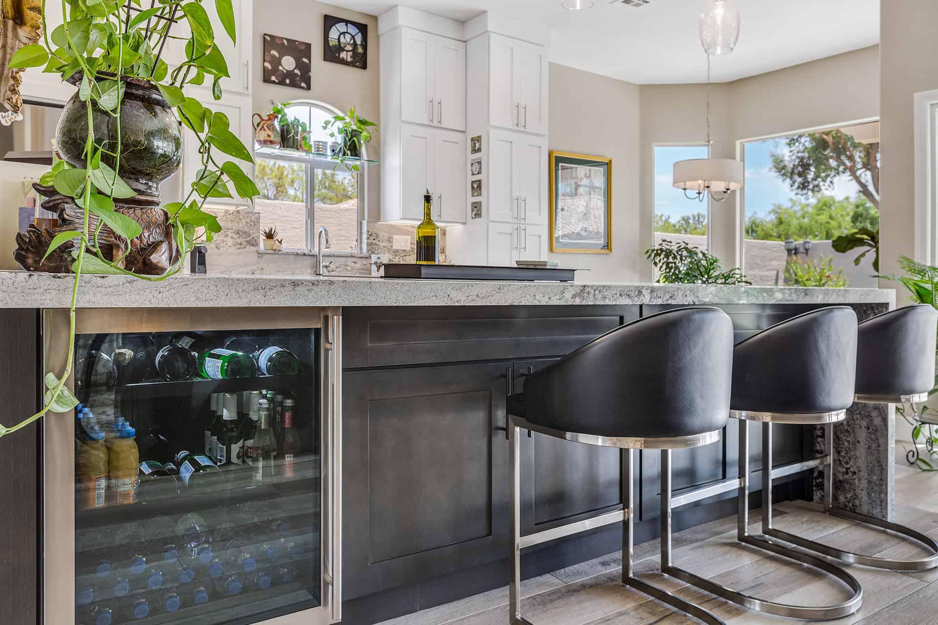 breakfast bar and beverage refrigerator