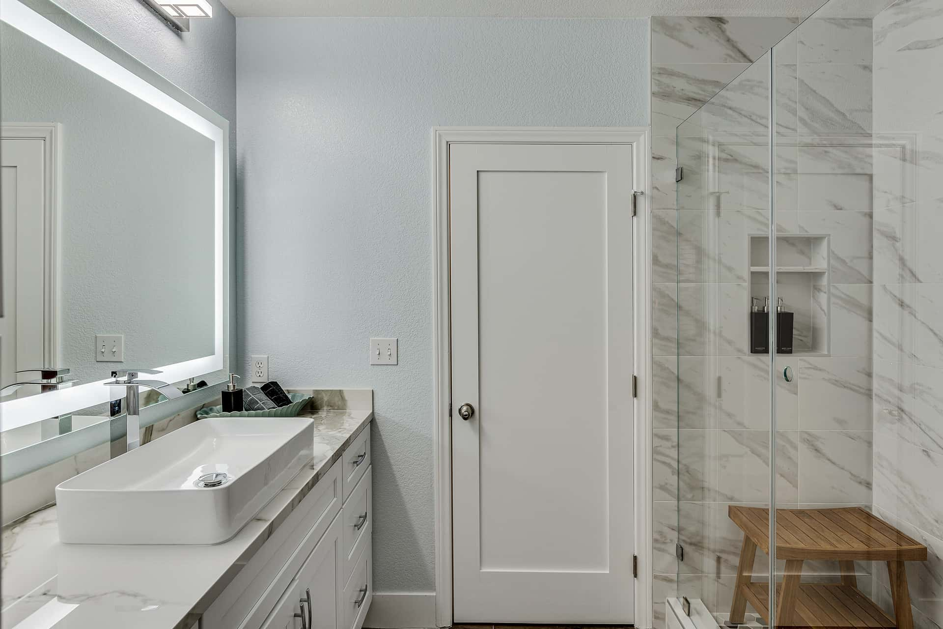secondary bathroom and shower