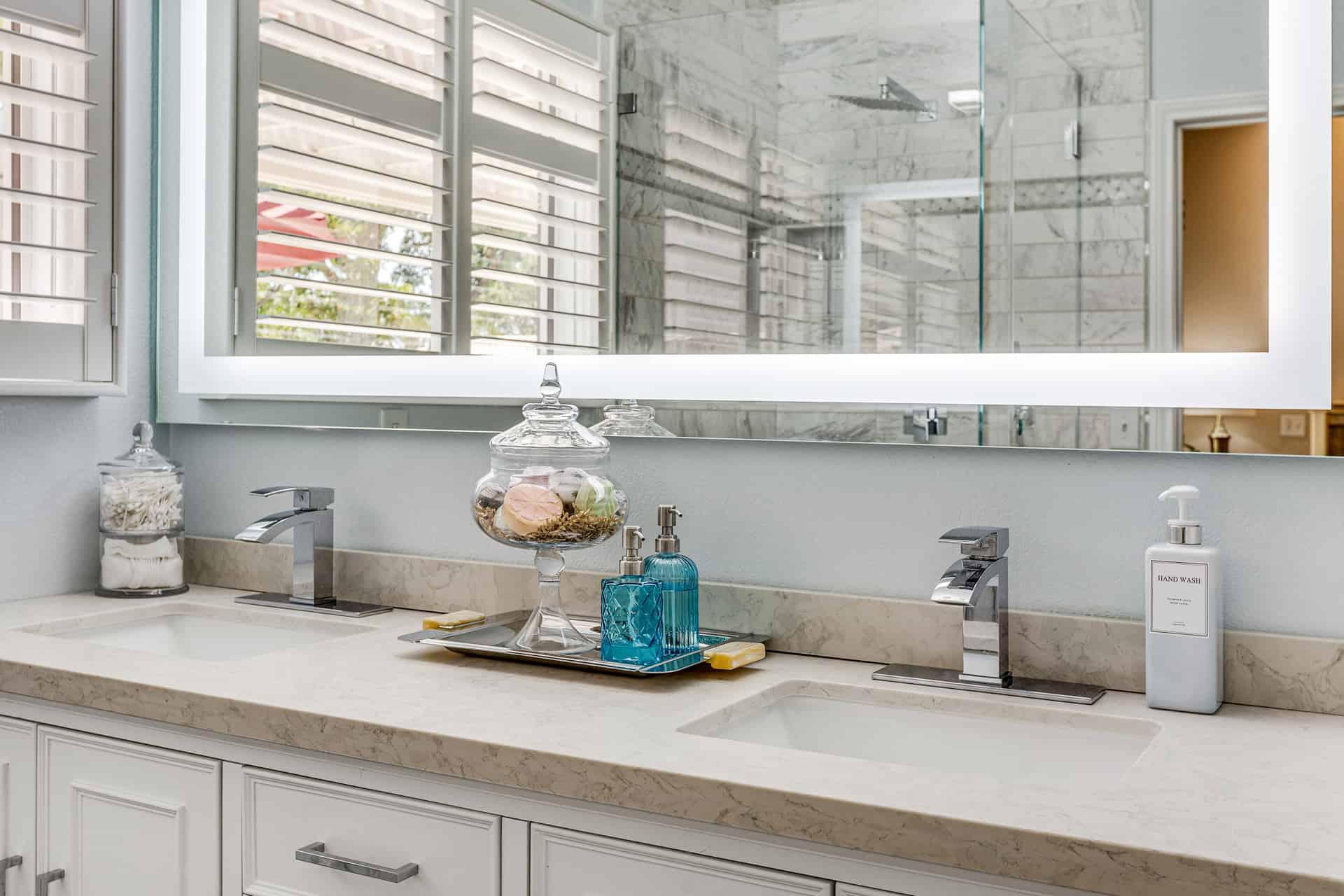 primary bathroom dual vanity