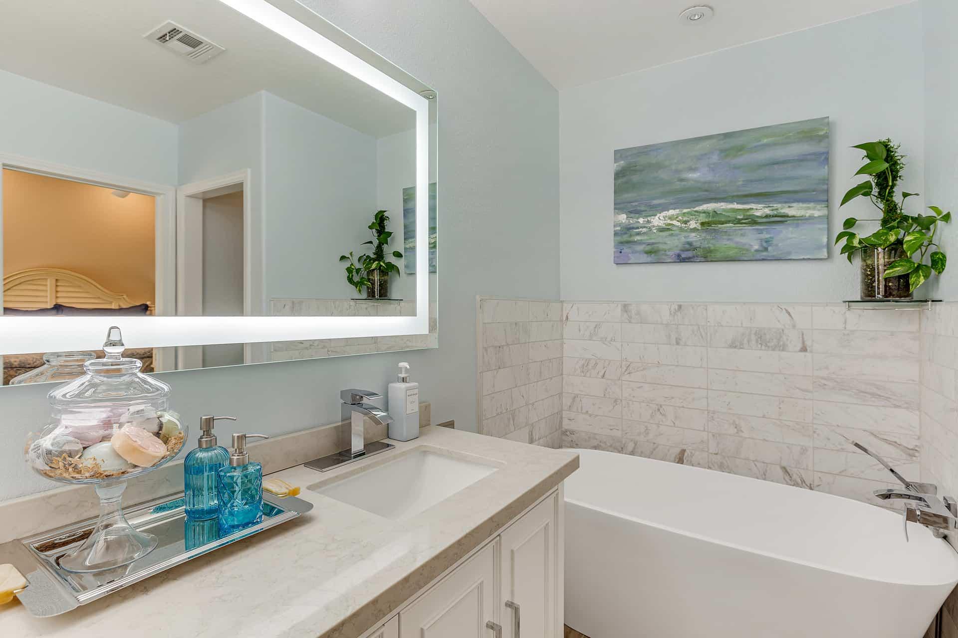 primary bathroom vanity and freestanding tub