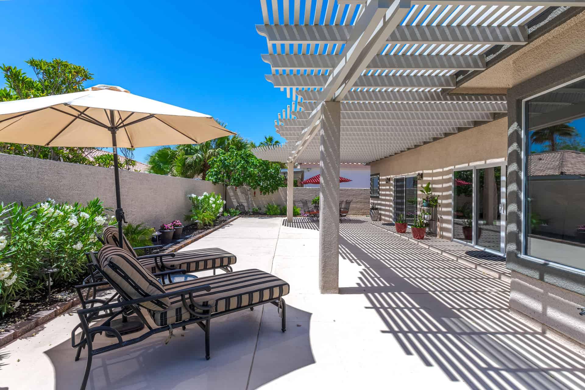 pergola-covered patio