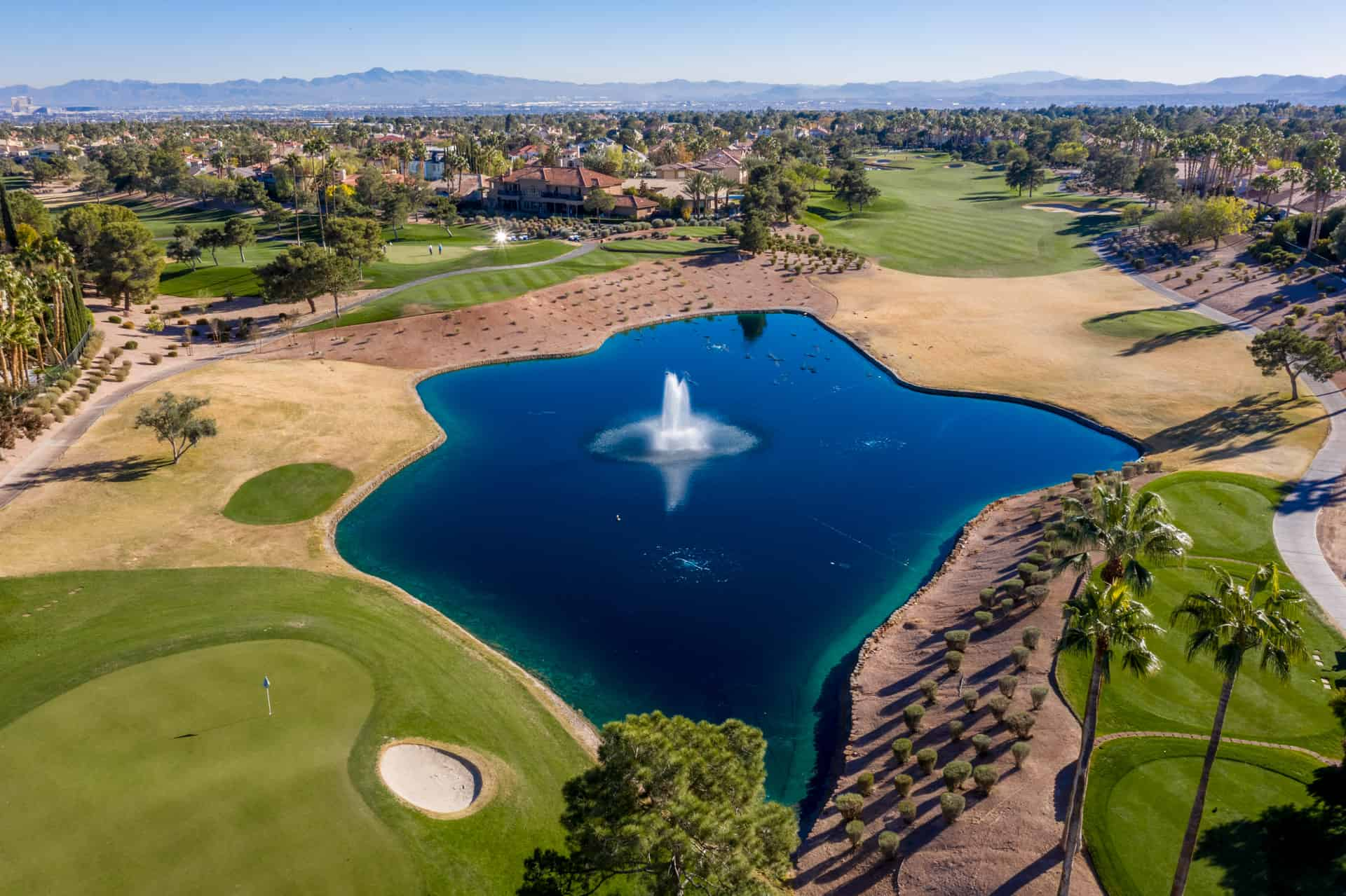 aerial golf course/lake view