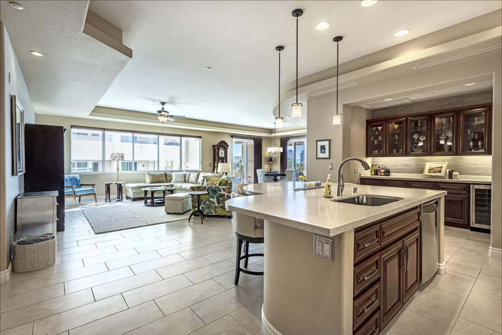 great room and kitchen island